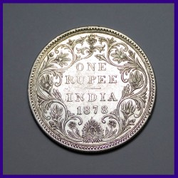1878 A/II Dot Bombay Mint Victoria Empress One Rupee Silver Coin - British India