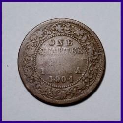 1904 One Quarter (1/4) Anna Edward VII King British India Coin