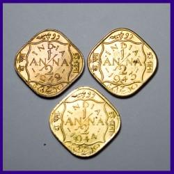 Set of 3, Half (1/2) Anna 1942, 43, 44, British India George VI Coins
