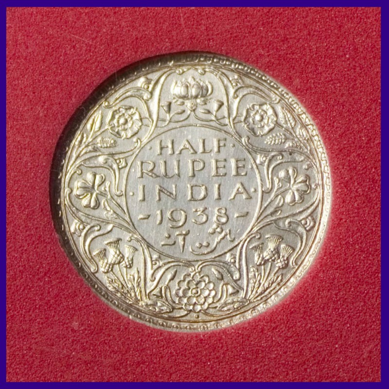 1938 Certified Half (1/2) Rupee George VI King Silver Coin British India