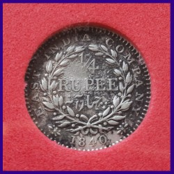 1840 Certified 1/4 Rupee Victoria Queen Silver Coin, East India Company