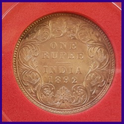 1892 AMS Certified One Rupee Silver Coin Victoria Empress, British India Coinage
