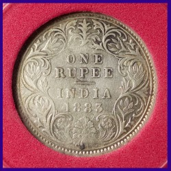 1883 Certified A/I - C Incuse Victoria Empress One Rupee Silver Coin - British India