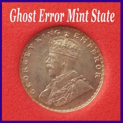 1914 Certified Error Two Annas, Bombay Mint, George V Silver Coin