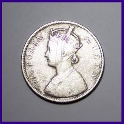 1862 2/0 Dots One Rupee Victoria Queen British India Silver Coin