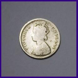 1885 Two Annas Victoria Empress Silver Coin, British India Coinage
