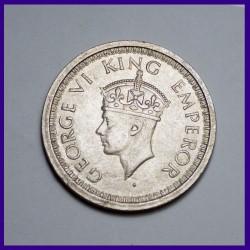 1944 UNC One Rupee George VI King, British India Silver Coin