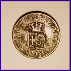 Portuguese India Carlos 1/2 Tanga Coin