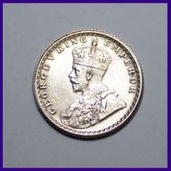 AUNC 1930 Quarter (1/4) Rupee George V British India Silver Coin