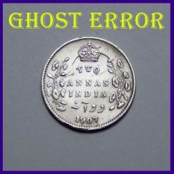 1907 Ghost Error Two Annas Silver Coin Edward VII King
