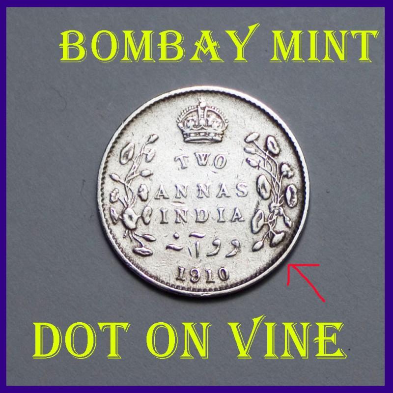 1910 Two Annas, Edward VII King, British India Silver Coin