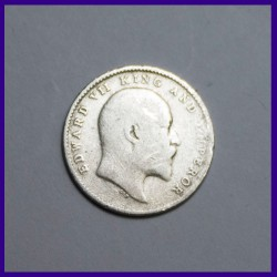 1904 Two Annas Edward VII King, British India Silver Coin