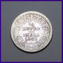 1891 Quarter (1/4) Silver Rupee, Victoria Empress, British India Coin