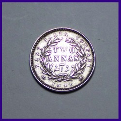 1841 Divided Legends Victoria Queen Two Annas  - Silver Coin - East India Company
