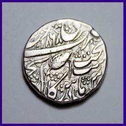 1868 Sikh One Rupee Leaf Mintmark Ranjit Singh Silver Coin