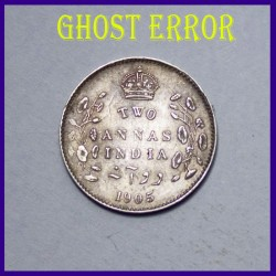 1905 Ghost Error Two Annas Silver Coin, Edward VII King, British India