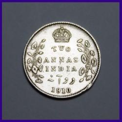 1910 Two Annas Silver Coin Edward VII British India