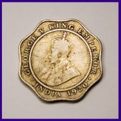 1920 George V, 4 Annas, British India Coin