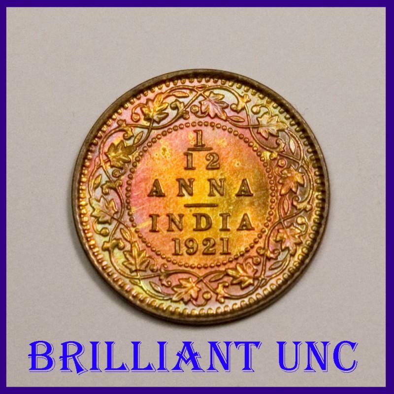 1921 BUNC 1/12 Anna Calcutta Mint George V King Coin, British India