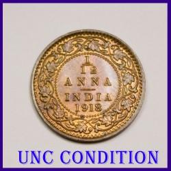 1918 UNC 1/12 Anna George V King Coin, British India