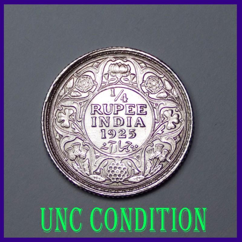 UNC 1925 Quarter (1/4) Rupee George V Coin