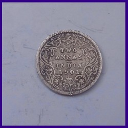 1901, Two Annas, Victoria Empress Silver Coin, British India