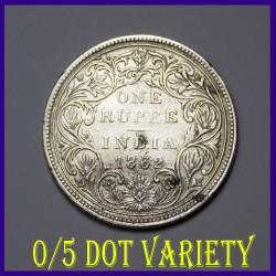 1862 A/II 0/5 Dots Victoria Queen One Rupee Silver Coin - British India