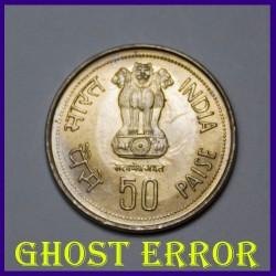 UNC Ghost Error Indira Gandhi 50 Paisa Coin