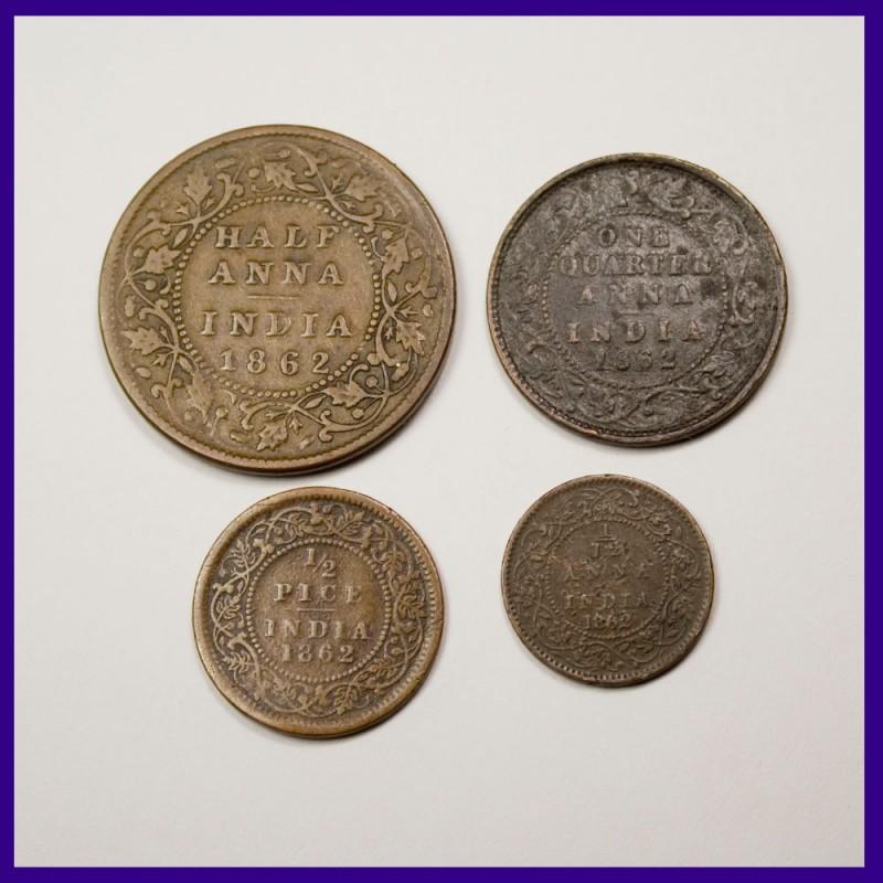 1862 Set of 4 Victoria Queen Half Anna, 1/4 Anna, 1/2 Pice, 1/12th Anna Copper Coins