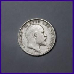 1906 Ghost Error Two Annas Silver Coin, Edward VII King, British India