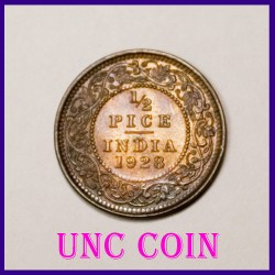 1928 Half (1/2) Pice George V British India Coin