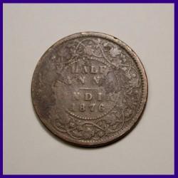 1876 Half (1/2) Anna Victoria Queen British India Coinage