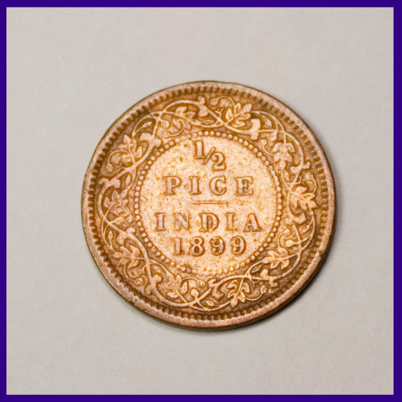 1899 Half Pice Victoria Empress British India Coin
