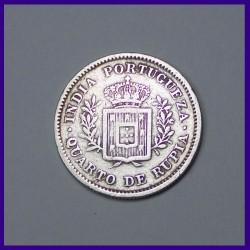 1881 Portuguese Quarto De Rupia (1/4th Rupee) Silver Coin