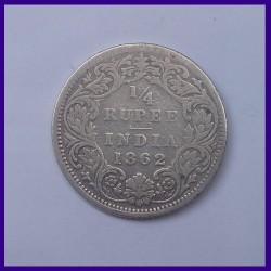 1862 Quarter (1/4) Rupee, Victoria Queen, British India Silver Coin
