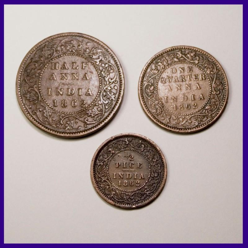 1862 Set of 3 Victoria Queen Half Anna, 1/4 Anna, 1/2 Pice Copper Coins