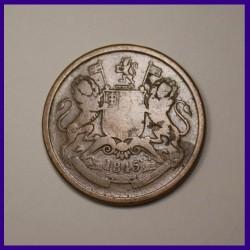 1845 Half Anna East India Company Copper Coin