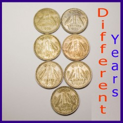 Set of 7 Big One Rupee Coins - Republic India Coinage