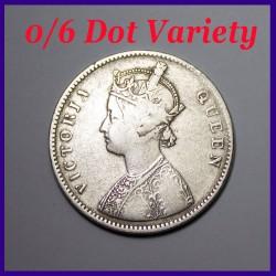 1862 A/II 0/6 Dots Victoria Queen One Rupee Silver Coin
