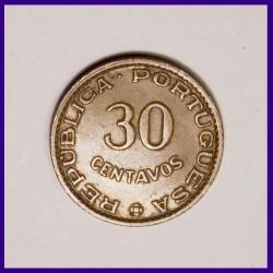 1958 Portuguese 30 Centavos Bronze Coin