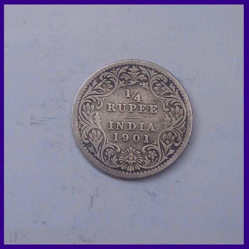 1901 Quarter (1/4) Silver Rupee, Victoria Empress, British India Silver Coin