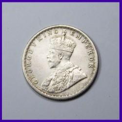 1916 Half (1/2) Rupee George V, Silver Coin, British India
