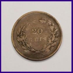 1892 Portugal 20 Reis Carlos I Bronze Coin