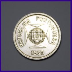 1935 One Rupia Portuguese India Silver Coin