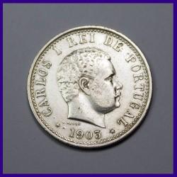 1903 Uma Rupia Carlos I Portuguese India Silver Coin