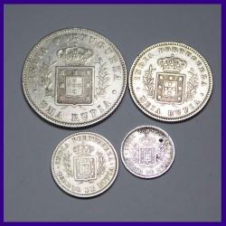 Set of 4 Portuguese India Luiz I (Ludovicus I) Silver Coins