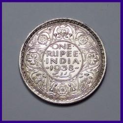 1938 One Rupee Silver Coin George VI British India
