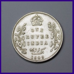1909 One Rupee Bombay Mint, Edward VII King, British India Silver Coin