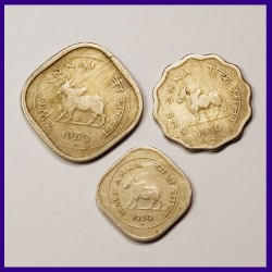 1950 Set of 3 Coins - Two Annas, One Anna And Half Anna, Bull Coin - Government Of India