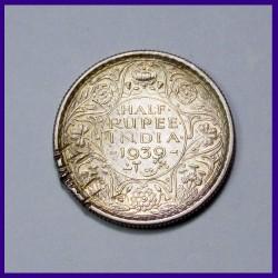 1939 Half (1/2) Rupee Young Head, Silver Coin George VI King - British India